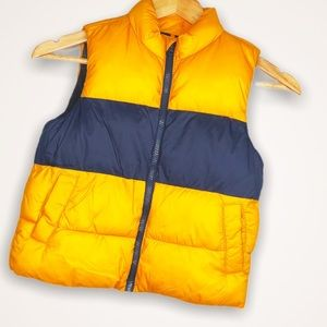 Boys Striped Vest Puffy Mustard Navy Old Navy